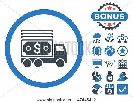 Cash Lorry icon with bonus pictogram. Vector illustration style is flat iconic bicolor symbols, smooth blue colors, white background.