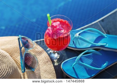 Watermelon Fresh Juice Smoothie Drink Glass With Flower