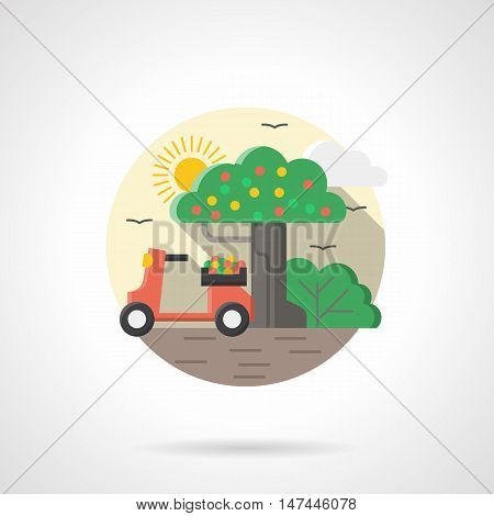 Red vintage moped or scooter under a fruit tree. Transport for crop delivery. Two-wheeled vehicles. Round detailed flat color style vector icon.
