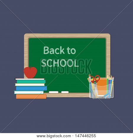 Green Chalkboard with inscription in chalk Back to school. Books, textbooks, exercise books, apple, school supplies. Flat Style Education Concept. Vector illustration.