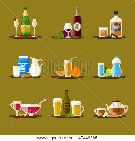 Different drinks with bottles, glasses and snacks. Champagne, wine, whiskey, milk, juice, water, punch, beer, tea. Vector beverages icon set. Flat design.