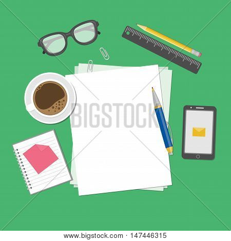 Blank sheets of paper on the desktop. View from above of blank sheets of paper, pen, ruler, pencil, smartphone, message, notebook, stickers, glasses, coffee cup. Preparation for work, notes, sketches.