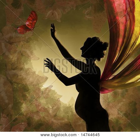 Pregnant Woman With Wings Catching Butterfly.  Vintage Background