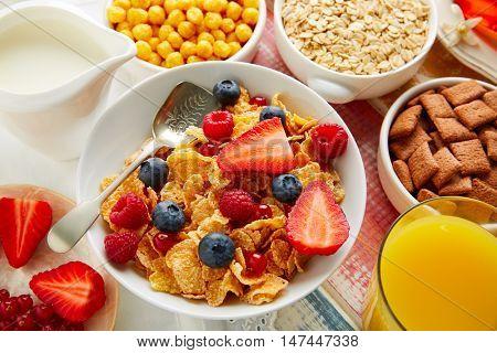 Breakfast healthy cereal coffee and orange juice with berries
