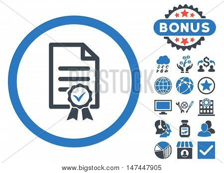 Certified icon with bonus pictures. Vector illustration style is flat iconic bicolor symbols, smooth blue colors, white background.
