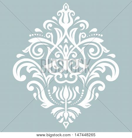 Oriental vector blue and white pattern with arabesques and floral elements. Traditional classic ornament