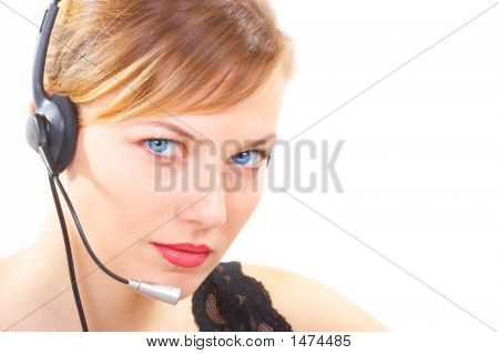 The Business Woman Works As The Operator