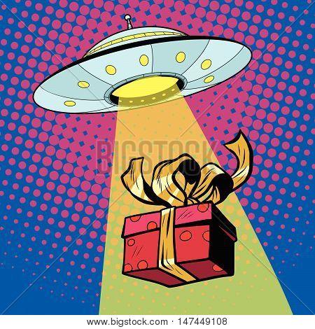 UFO abducts gift box, pop art retro vector illustration