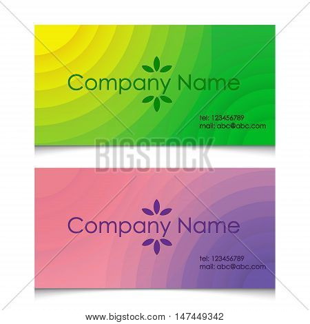 business card in two variants of green and pink tones