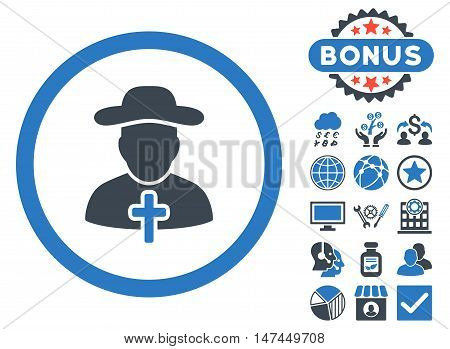 Clergy icon with bonus pictures. Vector illustration style is flat iconic bicolor symbols, smooth blue colors, white background.