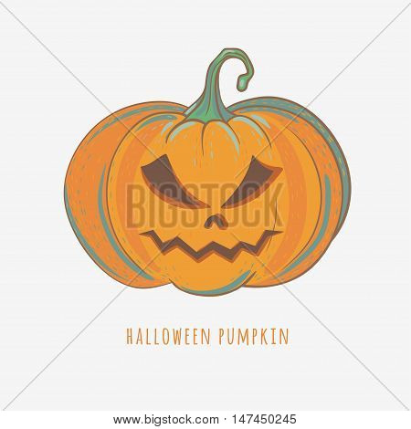 angry halloween pumpkin, hand drawn vector illustration isolated on white, carved halloween pumpkin with angry face