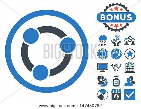 Collaboration icon with bonus symbols. Vector illustration style is flat iconic bicolor symbols, smooth blue colors, white background.