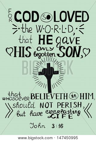 Golden Bible verse John 3 16 For God so loved the world on blue background