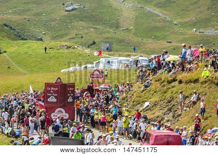 Col du Glandon France - July 23 2015: Banette caravan during the passing of the Publicity Caravan on Col du Glandon in Alps during the stage 18 of Le Tour de France 2015. Banette is the leading brand for the artisan bread in France.