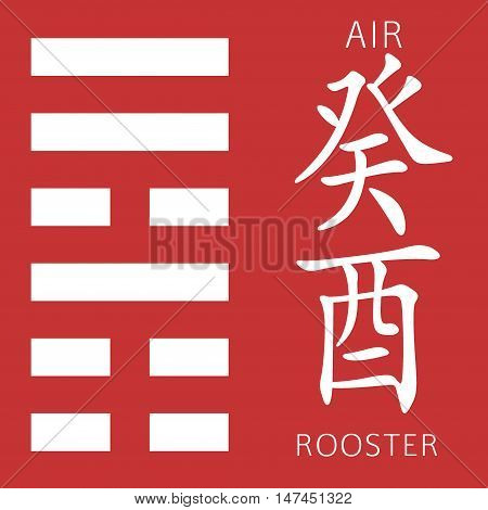 Symbol of i ching hexagram from chinese hieroglyphs. Translation of 12 zodiac feng shui signs hieroglyphs- air and rooster.