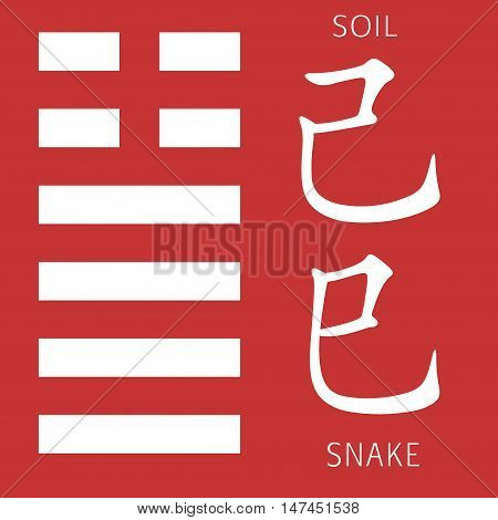 Symbol of i ching hexagram from chinese hieroglyphs. Translation of 12 zodiac feng shui signs hieroglyphs- soil and snake.