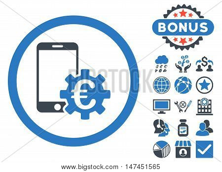 Configure Mobile Euro Bank icon with bonus elements. Vector illustration style is flat iconic bicolor symbols, smooth blue colors, white background.