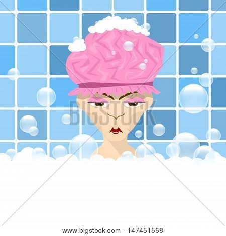 wicked grandmother in the bathroom. Vector illustration