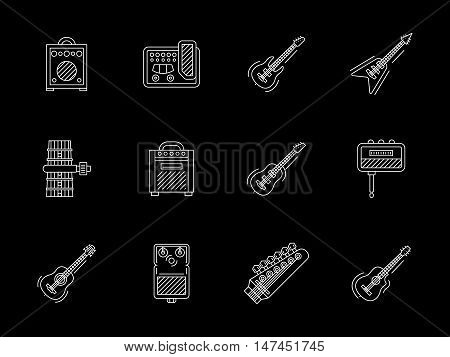 Symbols for music shop. Guitars and accessories. Musical instruments and equipment for band, record studio. Flat white line vector icons collection on black.