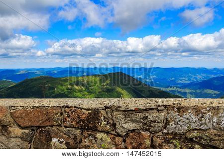 Stone wall of astronomical observatory on top of Pip Ivan mountain nature landscape in Carpathians Ukraine