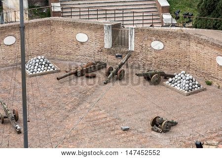 ROME, ITALY - JUNE 12, 2015: Medieval cannons in the tower of Castel Sant'Angelo (Castle of Holy Angel) Rome Italy