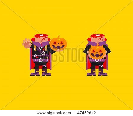 Stock vector illustration a Headless horseman character for halloween in a flat style
