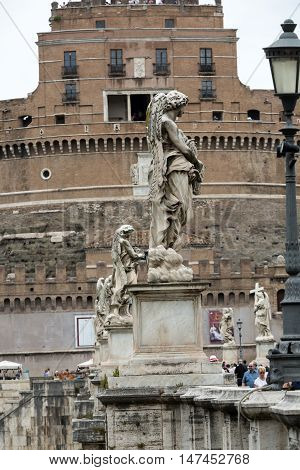 ROME, ITALY - JUNE 12, 2015: Rome - View of Castel Sant'Angelo Castle of the Holy Angel built by Hadrian in Rome along Tiber River
