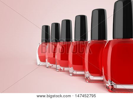 Red Nail Polish Bottels 3D Render On Gradient Background