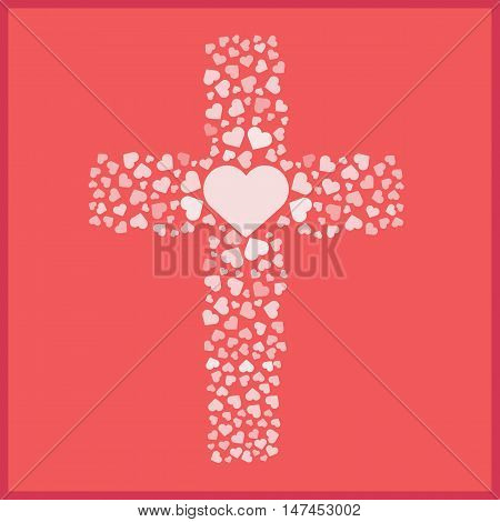 Jesus true love. Cross. Heart. Love. Vector illustration