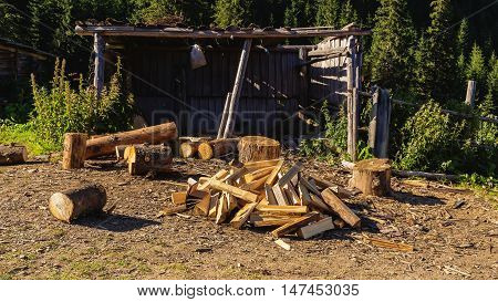 Pile of chopped wood on rural barn