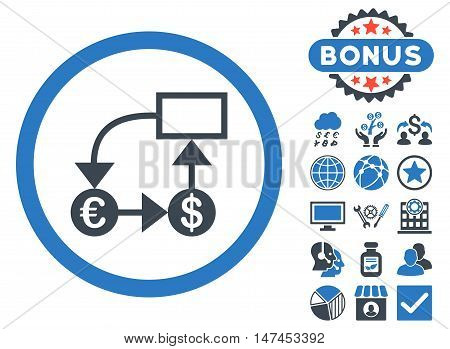 Currency Flow Chart icon with bonus symbols. Vector illustration style is flat iconic bicolor symbols, smooth blue colors, white background.