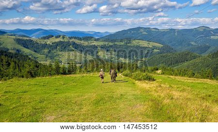 Tourists descend from the mountains to the valley Carpathians Ukraine Nature landscape