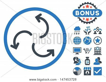 Cyclone Arrows icon with bonus pictogram. Vector illustration style is flat iconic bicolor symbols, smooth blue colors, white background.