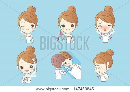 Cartoon beautiful young woman applying deodorant on underarm