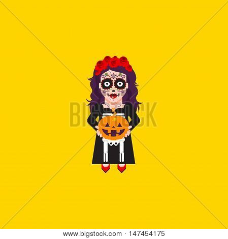 Stock vector illustration a goddess Katrina character for halloween in a flat style