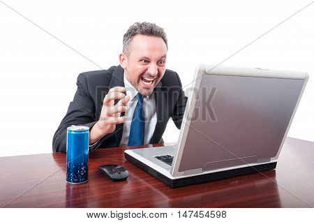 Man At Office Screaming With Energy Drink Aside