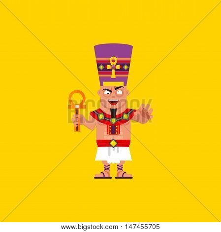 Stock vector illustration a king of Egypt, Pharaoh character for halloween in a flat style
