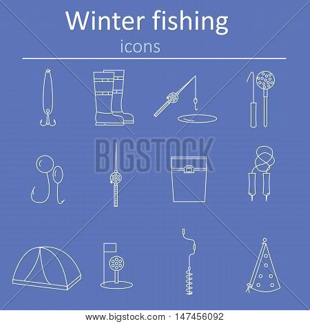 Set of linear web icons winter fishing. Accessories for fishing on the ice. Vector illustration.