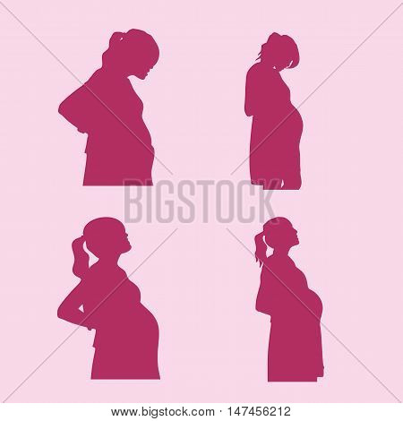 silhouette of pregnant woman with pink background great for your health design