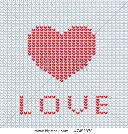 Knitting is love. Knitted heart symbol. Modern vector knitting pattern. Flat knitted heart for invitations notes messages banners. Knitting design element for sites. Knitted heart.