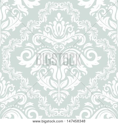 Seamless baroque vector white pattern. Traditional classic orient ornament