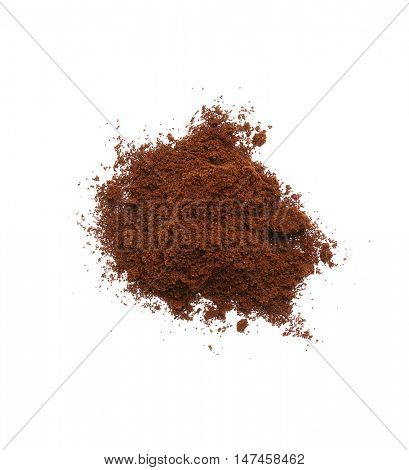 Ground roasted coffee, isolated on white