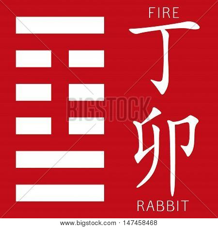 Symbol of i ching hexagram from chinese hieroglyphs. Translation of 12 zodiac feng shui signs hieroglyphs- fire and rabbit.
