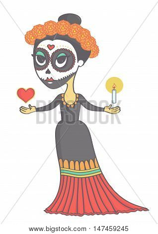 Adorable sugar skull girl for day of the dead or halloween. Vector cartoon of mexican woman representing death.