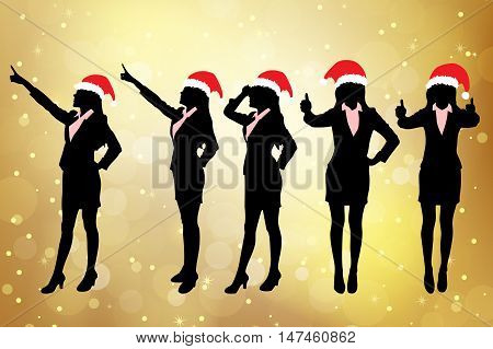 Silhouettes of christmas business women standing with different hand gesture