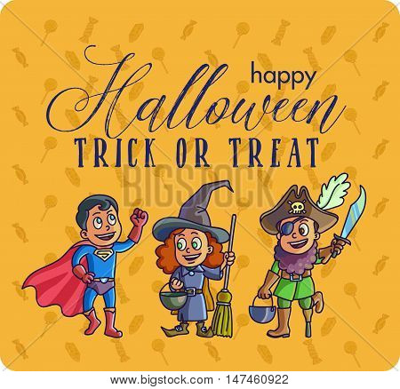 Vector set of characters for Halloween in cartoon style. Children in costumes for Halloween.