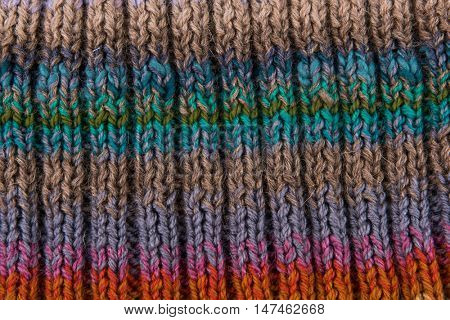 striped colorful wool texture handmade patten closeup macro blue green  purple orange beige