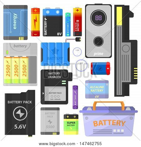 Set of alkaline battery and accumulator. Electricity technology. Signs and symbol of energy charge. Electric supply - vector illustration isolated on white background.