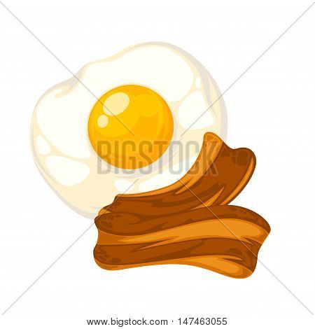 Vector breakfast food . Icon of healthy food eggs and bacon. Cartoon illustration isolated on white.