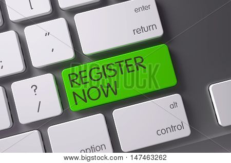 Register Now Concept Metallic Keyboard with Register Now on Green Enter Button Background, Selected Focus. 3D Illustration.